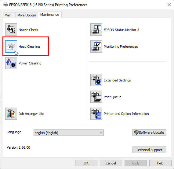 click on Head Cleaning under epson printer maintenance