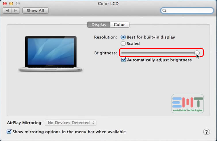 use the contrast slider to adjust the brightness of screen of iMac