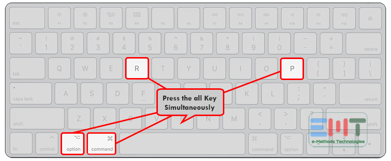 Press the Command + option + P + R keys simultaneously to fix iMac black screen