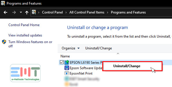 Right click on the Epson printer not printing and uninstall