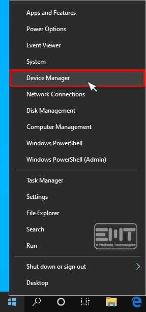 Right click on the start menu and selecting device manager