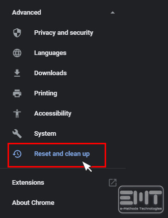 Scroll down and click on the Reset and clean up option