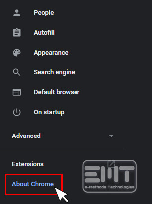 Select the About Google Chrome from left option menu