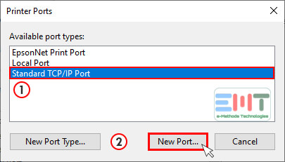 Select the Standard TCP/IP port and click on new port under epson printer properties