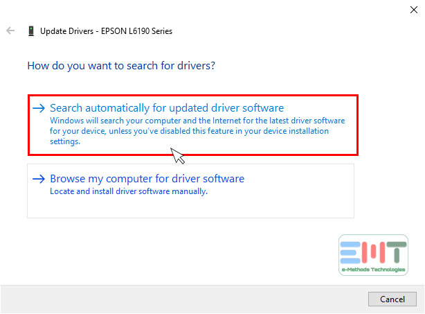 click on Search automatically for updated driver software to update epson printer driver in windows 10