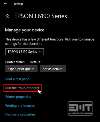 Clicking on run the troubleshooter to fix epson printer error code 0x97