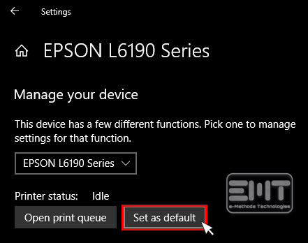 click on Set as default button to fix epson printer not printing