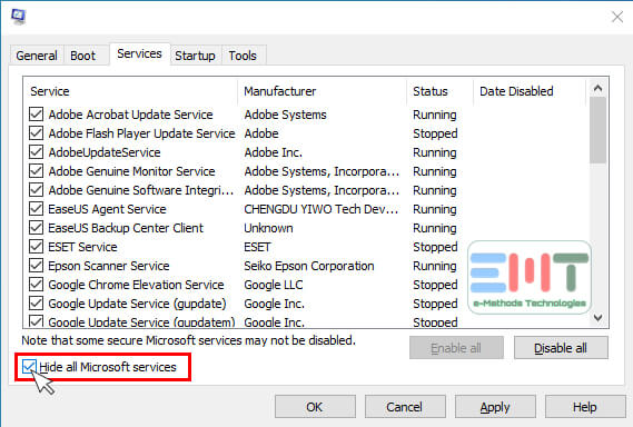 Check the Hide all Microsoft services box