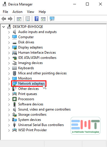 Choose the Network Adapter option