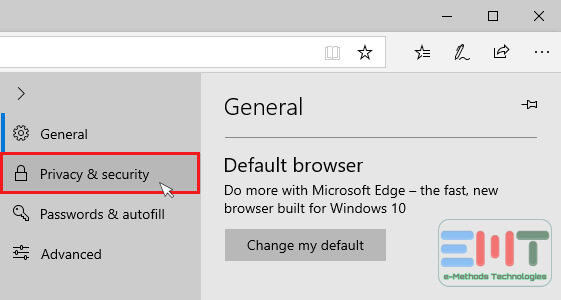 Click on Privacy and security from left options