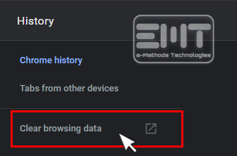 Click on the Clear Browsing data option from the left pane