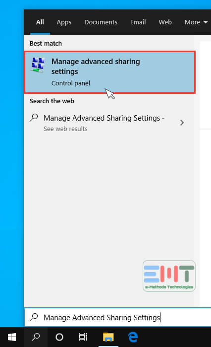 Click on the Manage Advanced Sharing Settings option from the search result