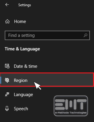 Click on the Region option from the left panel