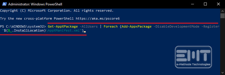 Copy and paste the below given command in the PowerShell Window