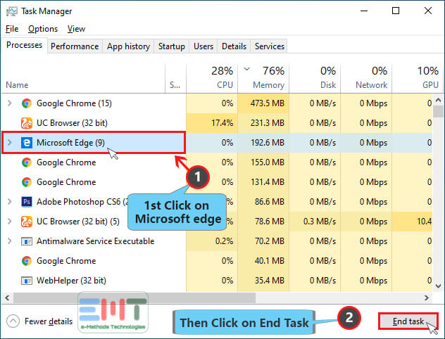 Look for any Microsoft edge related processes & click on the End task