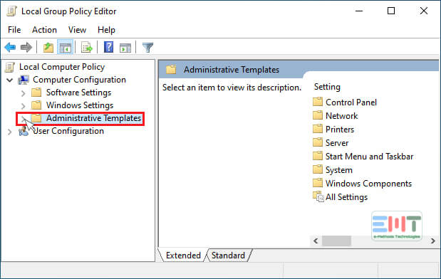 Now Click on Administrative Templates then Windows Components