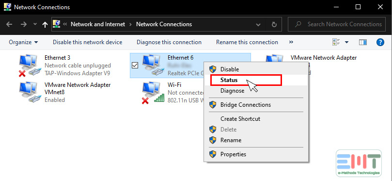 Right click on the network and click on Status option