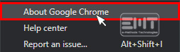 Select About Google Chrome