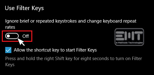 Turn off the Filter key functions
