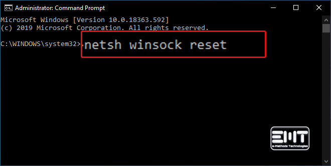 Type in the following command netsh winsock reset