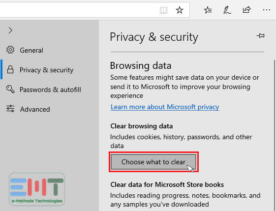 Under the Clear Browsing Data click on choose what to clear.