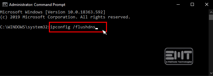 ipconfig flushdns and press Enter