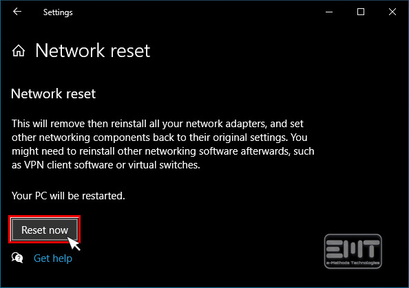 Now Click on reset now