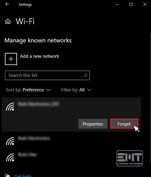 Now Click to your network and click on the Forgot button