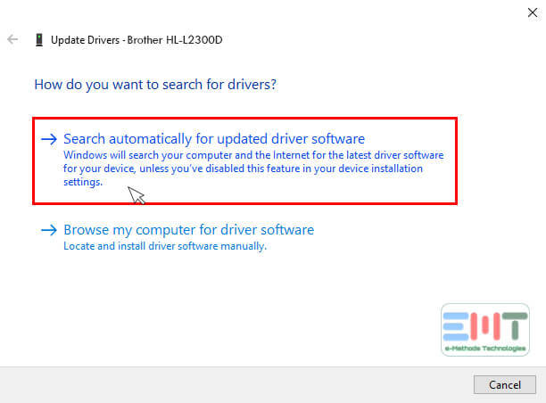 Now Select search automatically for updated driver software
