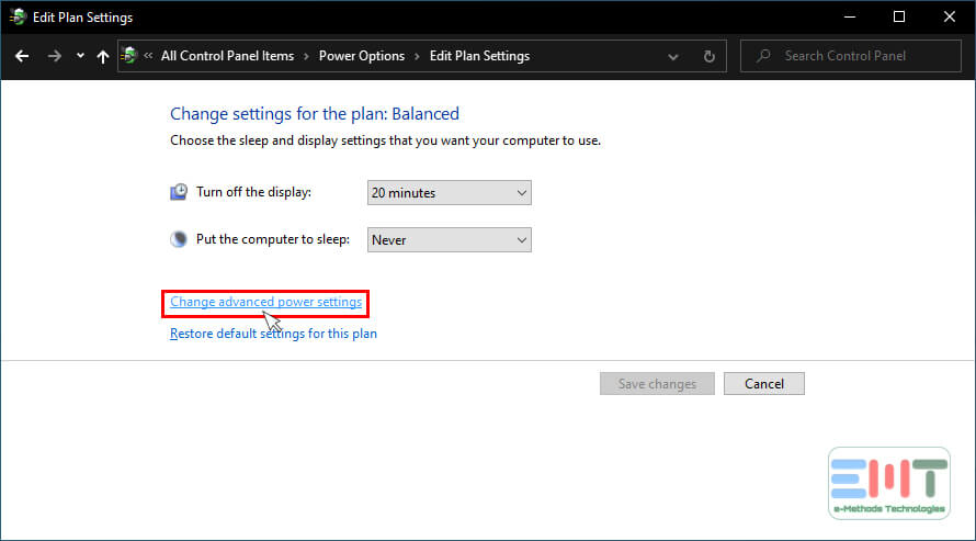 Select Change advanced power settings