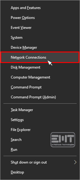 Select the Network Connections option