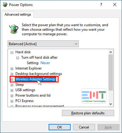 Under Advanced settings find Wireless Adapter Settings and double click on it