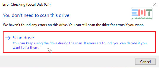 click on Drive scanning