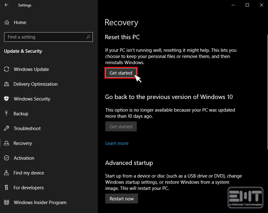 Click On 'Get Started' Under The Reset This PC Option