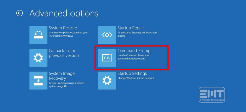 Click the command prompt option in the new Window.