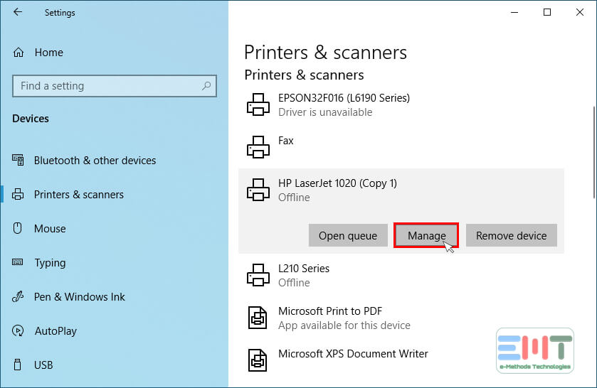 Select your printer nad click on the manage button