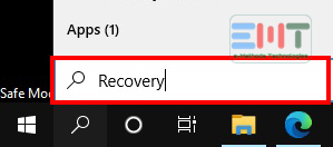 Type in System Recovery and open