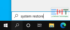 Type system restor in the search box