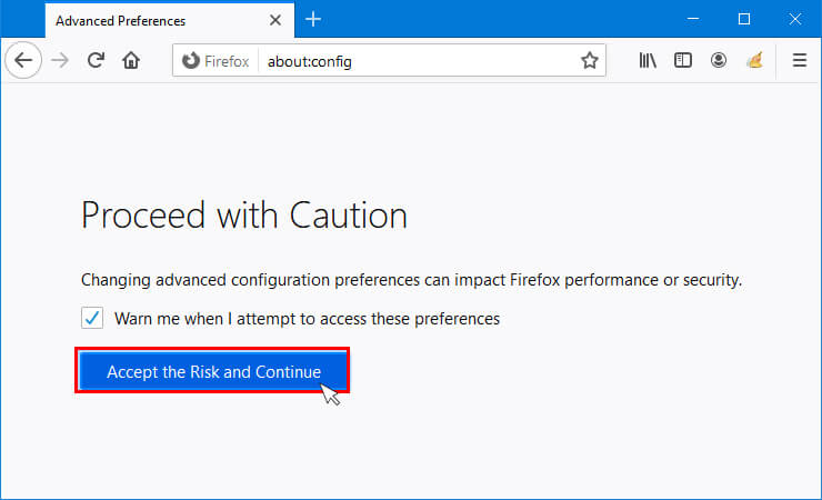 Click on Accept the risk and Cantinue