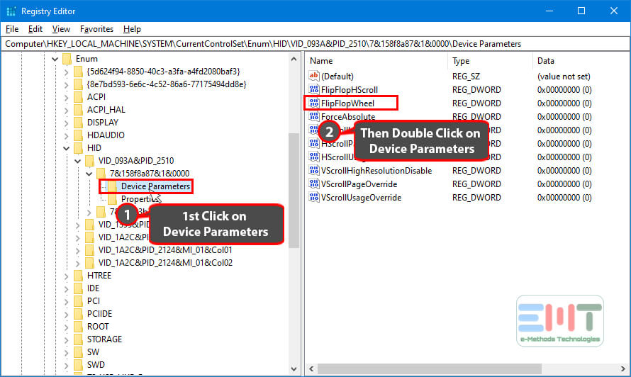 Click on the Device parameter & double click on FlipFlopWhee