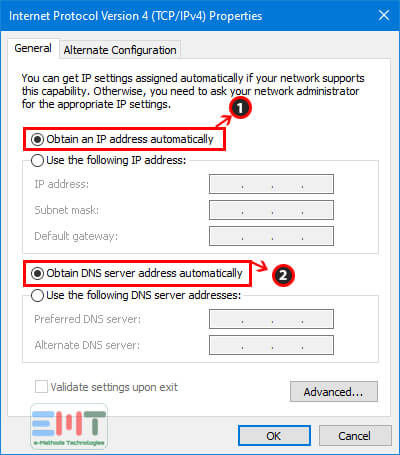 Make sure that Select the IP address automatically option is selected