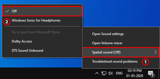 Mouse over Spatial sound & Click the Turn Off button