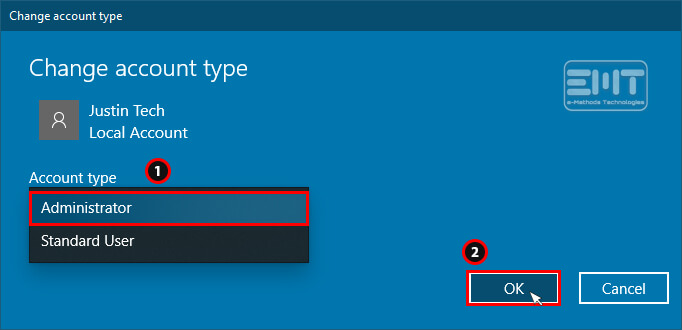 Now set the Administrator account from drop-down option and click on ok button