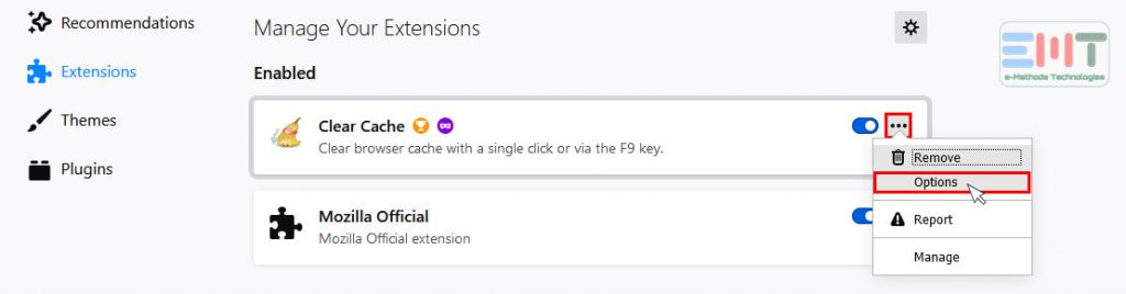 Remove Extensions one by one by clicking on 3 dots