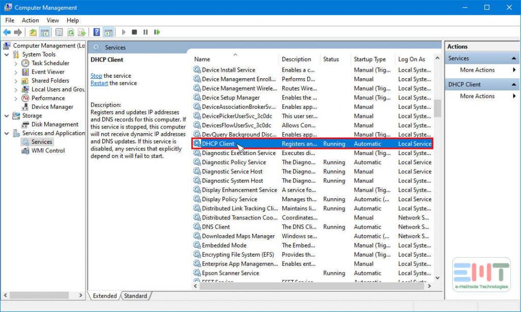 Select DHCP client in the right pane