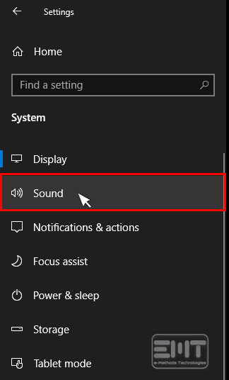 Select sound in the left pane
