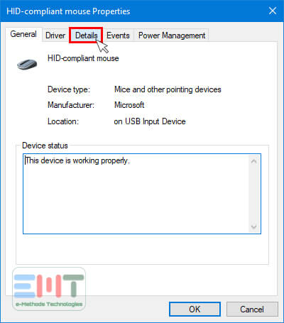 Under properties, Click on details Tab