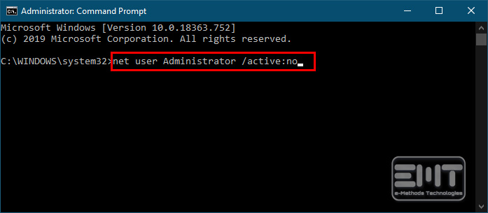 type in command net user Administrator active no