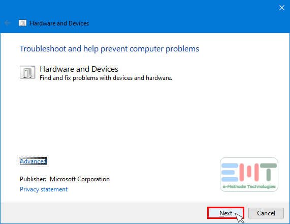 A hardware and device troubleshooter will open