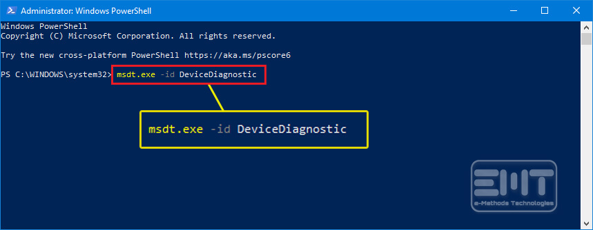 Type msdt-exe -id DeviceDiagnostic on the command prompt and hit enter
